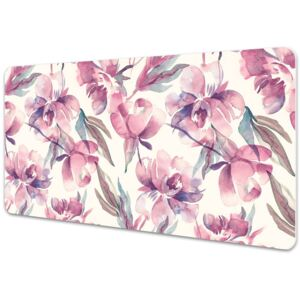 Large desk mat table protector pink flowers 45x90cm