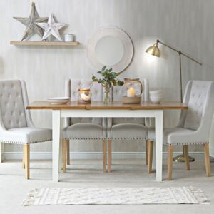 Chester White Painted Oak 1.2m Butterfly Extending Dining Table