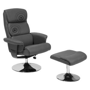Recliner Armchair Grey with Footstool Faux Leather Upholstered Metal Frame Heated Massage Function Retro Design Beliani