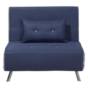 Sofa Bed Blue Fabric Upholstery Single Sleeper Fold Out Chair Bed Beliani