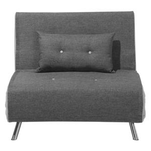 Sofa Bed Grey Fabric Upholstery Single Sleeper Fold Out Chair Bed Beliani