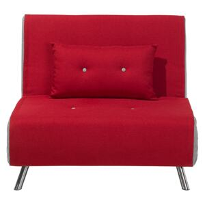 Sofa Bed Red Fabric Upholstery Single Sleeper Fold Out Chair Bed Beliani