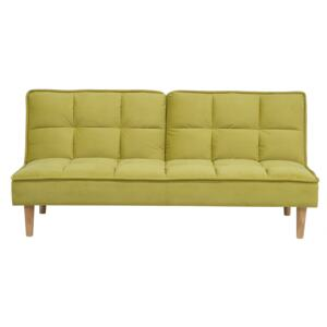 Sofa Bed Green 3 Seater Reclining Back Quilted Beliani