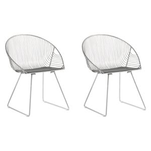 Set of 2 Dining Chairs Silver Metal Frame Black Faux Leather Seat Modern Industrial Design Beliani