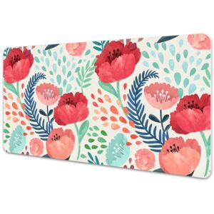 Large desk mat table protector Red poppies 45x90cm