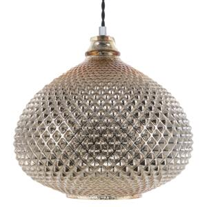 Ceiling Lamp Gold Glass 88 cm Pendant Carved Shade Ambient Glam Beliani