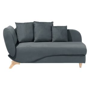 Left Hand Chaise Lounge in Dark Grey with Storage Container Beliani