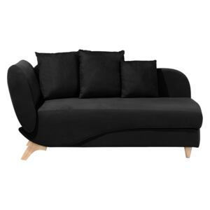 Left Hand Chaise Lounge in Black with Storage Container Beliani
