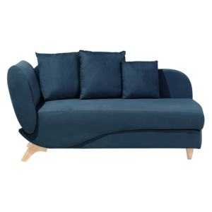 Left Hand Chaise Lounge in Blue with Storage Container Beliani