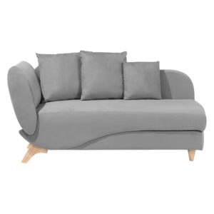 Left Hand Chaise Lounge in Light Grey with Storage Container Beliani