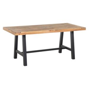 Dining Table Light Acacia Wood and Black 170 x 80 cm Outdoor Indoor Modern Beliani