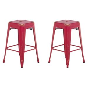 Set of 2 Bar Stools Red with Gold Metal 60 cm Stackable Counter Height Industrial Beliani