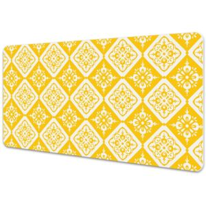Full desk protector Yellow and white pattern 45x90cm