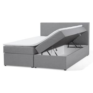 Divan Bed Grey Fabric Upholstery EU King Size 5ft3 Continental with Storage Boxes Pocket Spring Mattresses Headboard Beliani