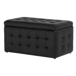 Ottoman Black Faux Leather Tufted Upholstery Bedroom Bench with Storage Beliani