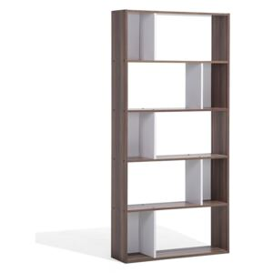 Bookcase Dark Wood and White 174 x 83 cm Large and Small Shelves Scandinavian Beliani
