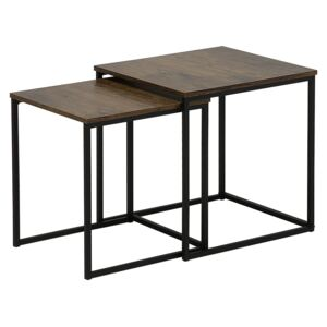 Set of 2 Coffee Tables Dark Wood Black Frame Large and Small Industrial Beliani