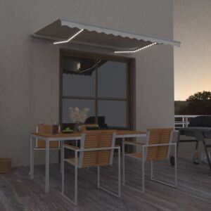 VidaXL Manual Retractable Awning with LED 300x250 cm Cream