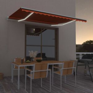 VidaXL Manual Retractable Awning with LED 400x300 cm Orange and Brown