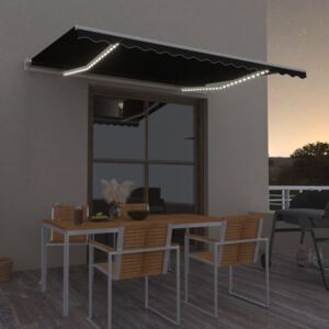 VidaXL Manual Retractable Awning with LED 400x300 cm Anthracite