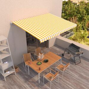 VidaXL Manual Retractable Awning 450x300 cm Yellow and White