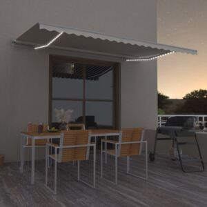 VidaXL Manual Retractable Awning with LED 500x300 cm Cream