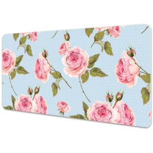 Large desk mat table protector Roses with leaves 45x90cm
