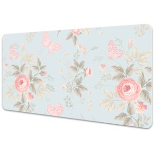 Large desk mat table protector Roses and butterflies 45x90cm