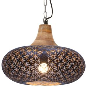 Industrial Hanging Lamp Black Iron & Solid Wood 40 cm E27