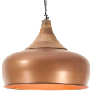 Industrial Hanging Lamp Copper Iron & Solid Wood 45 cm E27