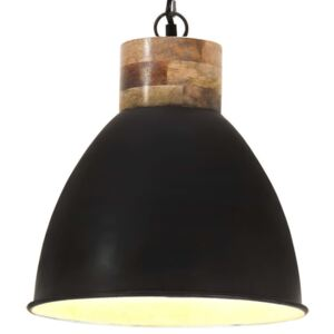 Industrial Hanging Lamp Black Iron & Solid Wood 46 cm E27