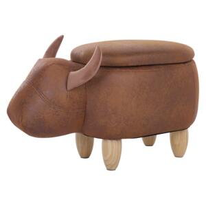 Animal Cow Children Stool with Storage Brown Faux Leather Wooden Legs Nursery Footstool Beliani