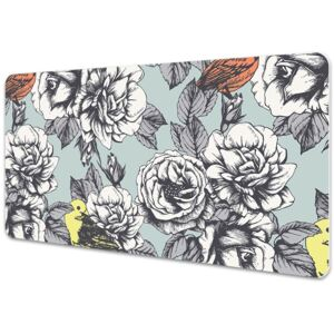 Large desk pad PVC protector Roses and birds 45x90cm