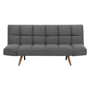 Sofa Bed Grey Fabric Upholstered 3 Seater Reclining Backrest Square Quilted Beliani