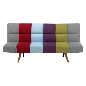 Sofa Bed Multicolour Patchwork Fabric Upholstered 3 Seater Reclining Backrest Square Quilted Beliani