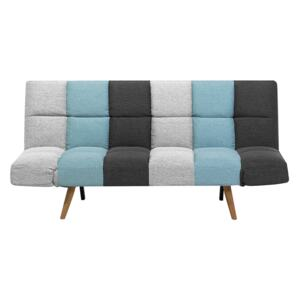 Sofa Bed Multicolour Fabric Upholstered 3 Seater Reclining Backrest Square Quilted Beliani