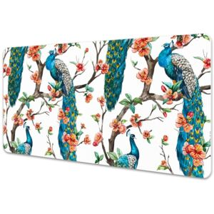 Large desk pad PVC protector colorful peacock 45x90cm