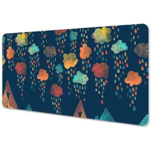 Large desk mat table protector colorful houses 45x90cm