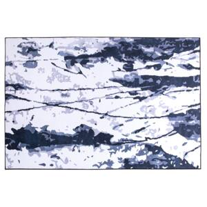 Rug White and Blue 140 x 200 cm Abstract Paint Effect Printed Low Pile Modern Beliani