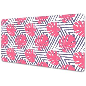 Large desk mat table protector pink leaves 45x90cm