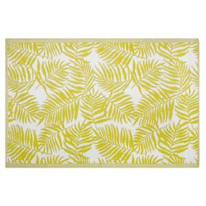 Outdoor Rug Mat Yellow Synthetic 120 x 180 cm Palm Leaf Floral Pattern Eco Friendly Modern Beliani