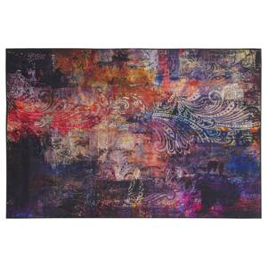 Area Rug Carpet Multicolour Polyester Fabric Floral Paisley Abstract Pattern Rubber Coated Bottom 140 x 200 cm Beliani