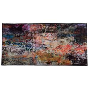 Area Rug Carpet Multicolour Polyester Fabric Floral Paisley Abstract Pattern Rubber Coated Bottom 80 x 150 cm Beliani