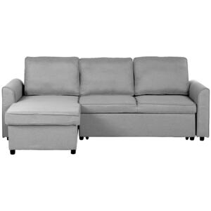 Corner Sofa Bed Grey Fabric Upholstered Right Hand Orientation with Storage Bed Beliani