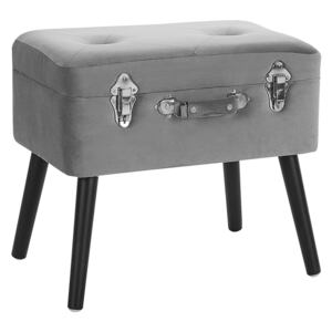 Stool with Storage Grey Velvet Upholstered Black Legs Suitcase Design Buttoned Top Beliani