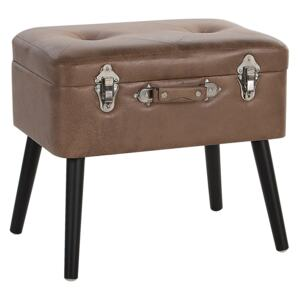 Stool with Storage Brown Faux Leather Upholstered Black Legs Suitcase Design Buttoned Top Beliani