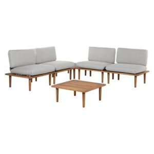 Garden Sofa Set Grey Cushions Solid Acacia Wood Modern Outdoor 4 Seater Conversation Set Armchairs with Side Table Beliani