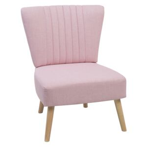 Armchair Pink Armless Accent Chair Armless Vertical Tufting Wooden Legs Beliani