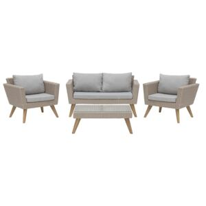 Patio Set Brown Rattan 2 Seater 2 Chairs Grey Cushions Outdoor Country Beliani
