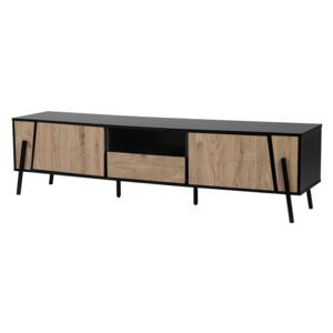TV Stand Light Wood and Black Metal Legs for up to 76 ʺ with 1 Drawer and 2 Cabinets Industrial Style Beliani